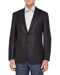 Brioni Check Two Button Check Jacket Brownnavy
