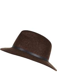 River Island Brown Felt Fedora Hat