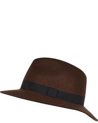 River Island Brown Grosgrain Trim Fedora Hat
