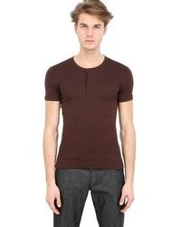Dolce & Gabbana Mini Rib Cotton Jersey Henley T Shirt