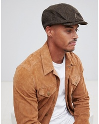 ASOS DESIGN Baker Boy In Brown Herringbone