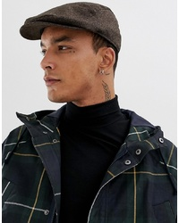 ASOS DESIGN Flat Cap In Brown Herringbone Texture