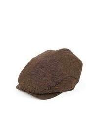 Jaxon Hats Herringbone Extended Bill Flat Cap Brown
