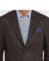 Boglioli Brown Slim Fit Herringbone Slub Virgin Wool Blazer