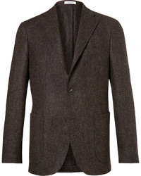 Brown slim fit herringbone slub virgin wool blazer medium 4948099