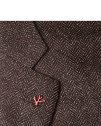 Isaia Brown Slim Fit Mlange Herringbone Wool And Cashmere Blend Blazer