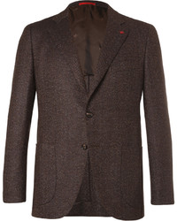 Brown slim fit mlange herringbone wool and cashmere blend blazer medium 3728878