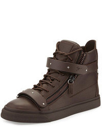 Dark Brown High Top Sneakers