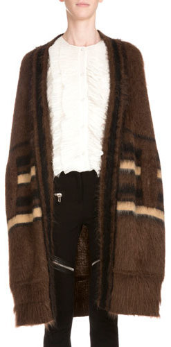 Givenchy Shawl Collar Open Front Coat Light Brown
