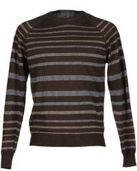 Dark Brown Horizontal Striped Crew-neck Sweater