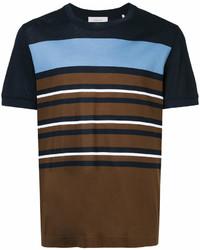 Dark Brown Horizontal Striped Crew-neck T-shirt