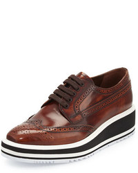 Prada Platform Brogue Trim Leather Oxford Tobacco