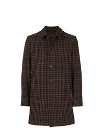 Dark Brown Houndstooth Overcoat