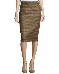 Michael Kors Michl Kors Slim Houndstooth Pencil Skirt Chocolate