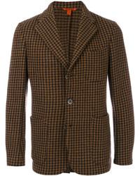 Dark Brown Houndstooth Wool Blazer