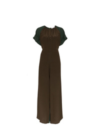 Chloé Two Tone Split Leg Silk Jumpsuit