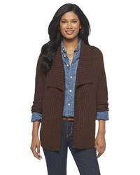 Dark Brown Knit Open Cardigan