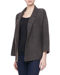 Halston Heritage Long Sleeve Ribbed Cardigan Sweater Graybrown