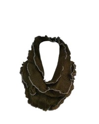 CTM Ruffled Loop Scarf Brown One Size