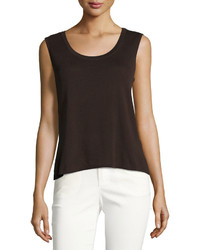 Scoop neck knit tank brown medium 3726214