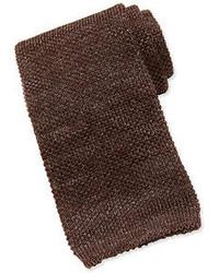 Isaia Woolsilk Knit Tie Brown