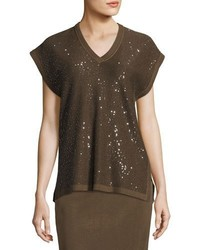 Misook Collection Cap Sleeve V Neck Sequined Knit Tunic Petite