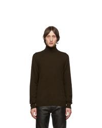 Dark Brown Knit Wool Turtleneck