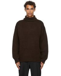 Jil Sander Brown Wool Rib High Neck Sweater