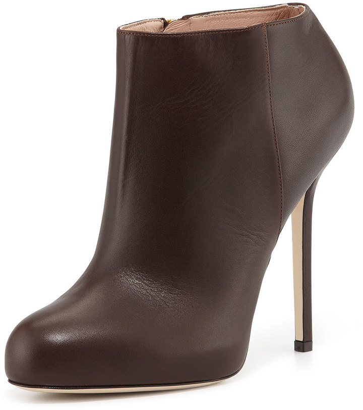 02d841081ad Sergio Rossi Leather High Heel Ankle Bootie Dark Brown, $795 ...