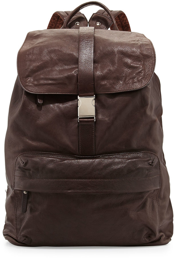 Brunello Cucinelli Bufalino Leather Backpack Dark Brown   Where to ...