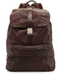 Brunello Cucinelli Bufalino Leather Backpack Dark Brown