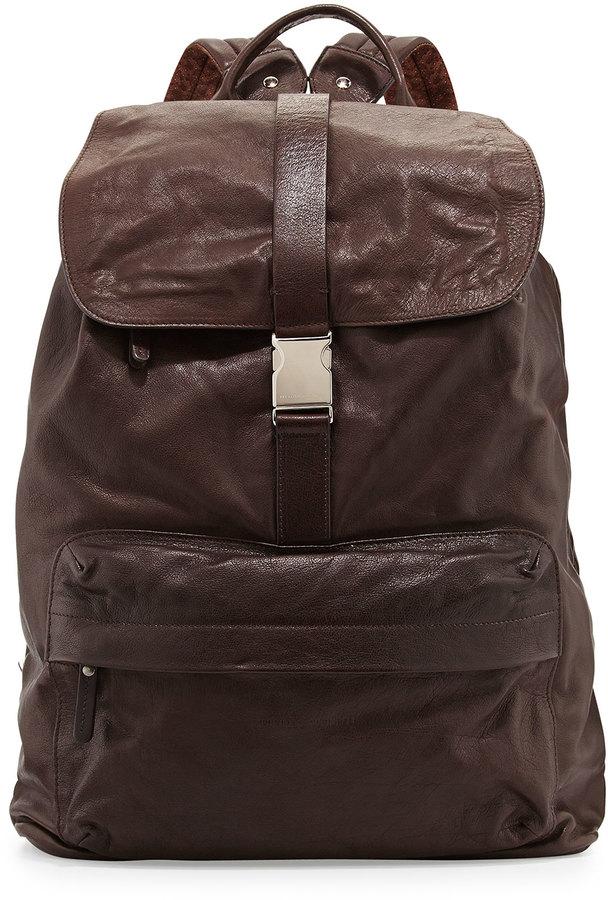 Brunello Cucinelli Bufalino Leather Backpack Dark Brown | Where to ...