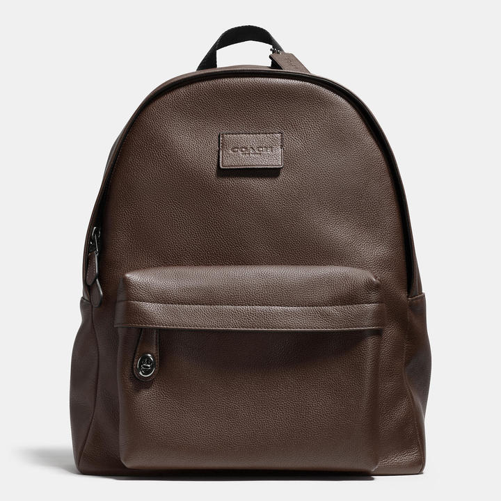 1fc1a5257a0d ... Brown Leather Backpacks Coach Campus Backpack In Refined Pebble Leather  ...