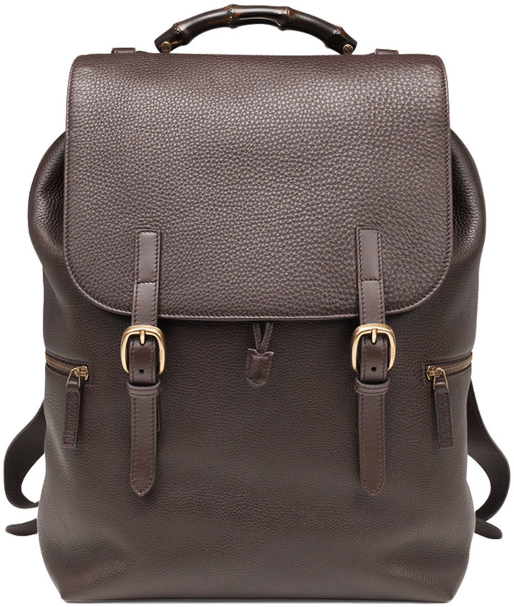 Gucci Leather Drawstring Backpack Dark Brown | Where to buy & how ...