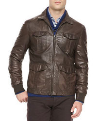 Brunello Cucinelli 4 Pocket Leather Jacket Brown