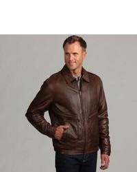 Izod Antique Brown Leather Pilot Jacket