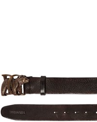 DSQUARED2 40mm Leather Belt W Bear Buckle