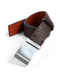 Bosca Leather Belt Dark Brown 42