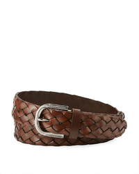 Brunello Cucinelli Braided Leather Mill Buckle Belt Chestnut
