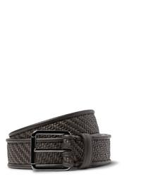 Ermenegildo Zegna Brown Pelle Tessuta Leather Belt