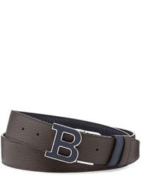 Bally Calf Leather B Buckle Belt Dark Navy