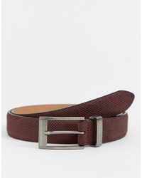 Ted Baker Consway Leather Belt In Dark Brick