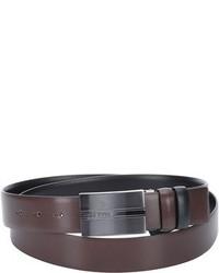 Hugo Boss Dark Brown Embossed Leather Olias Reversible Belt