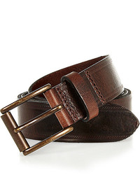 River Island Dark Brown Leather Embossed Belt