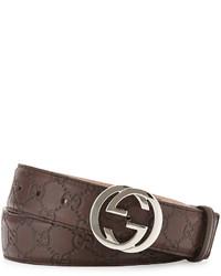 Gucci Interlocking G Buckle Leather Belt Chocolate