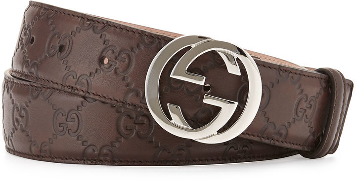 00f7ffd2861 ... Dark Brown Leather Belts Gucci Interlocking G Buckle Leather Belt  Chocolate ...