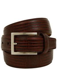Joseph Abboud Brown Lizard Print Leather Belt