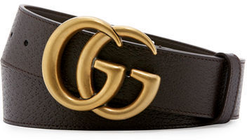 2ad696da015 ... Brown Leather Belts Gucci Leather Belt With Double G Buckle ...