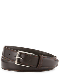 Ermenegildo Zegna Leather Belt Wpolished Buckle Dark Brown