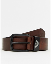 Emporio Armani Leather Logo Keeper Belt In Dark Brown